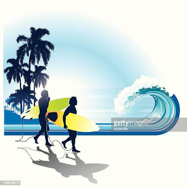 Surfer zu Fuß