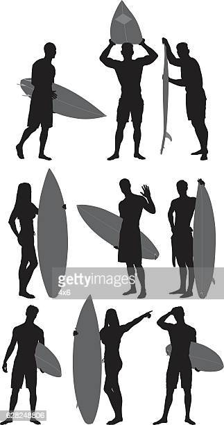 Surfers with various actions