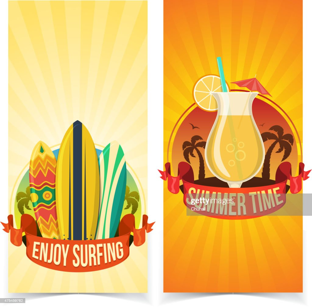 Surfing and partying banners.