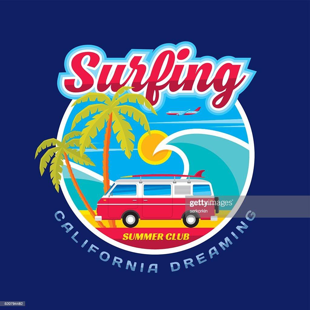 Surfing - California dreams - vector illustration concept