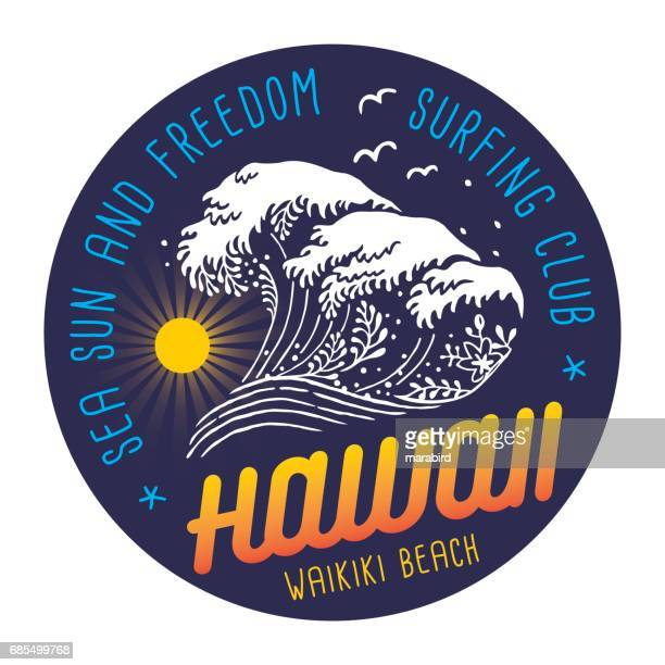 surfing club colored label on navy blue background - water's edge stock illustrations