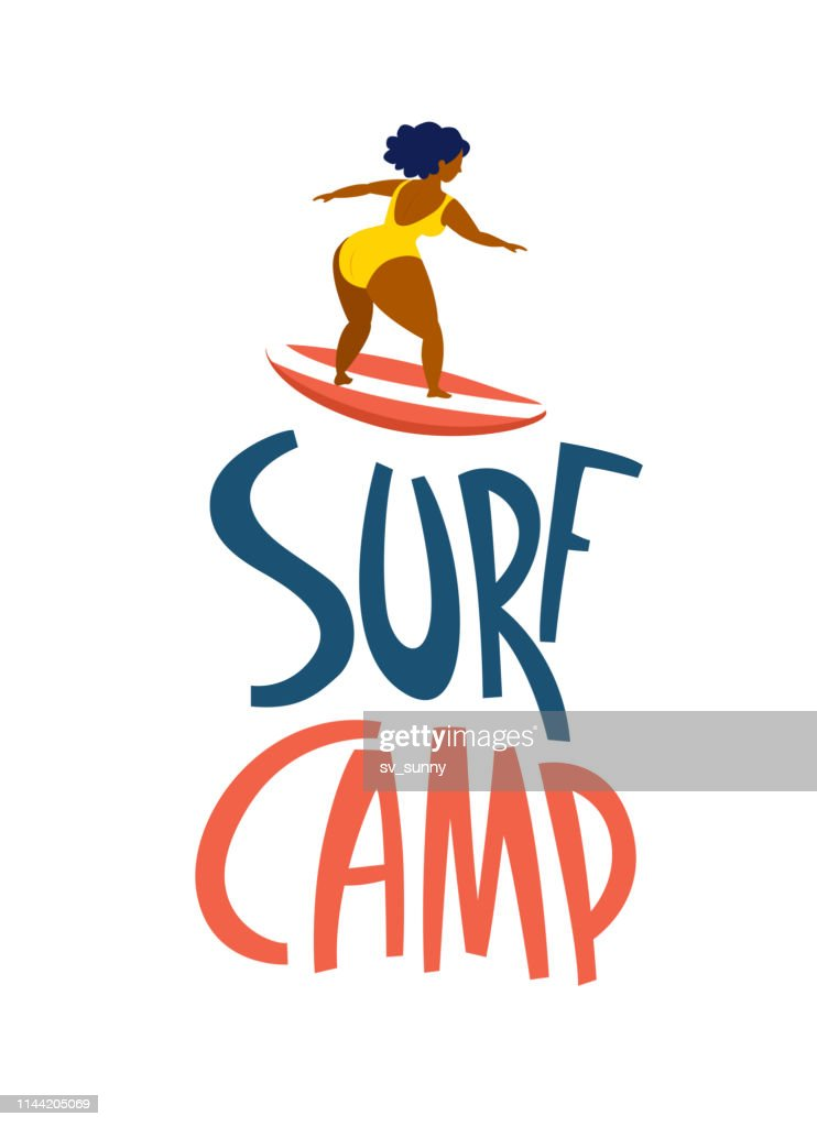Surfing girls in the ocean. Surf camp lettering.