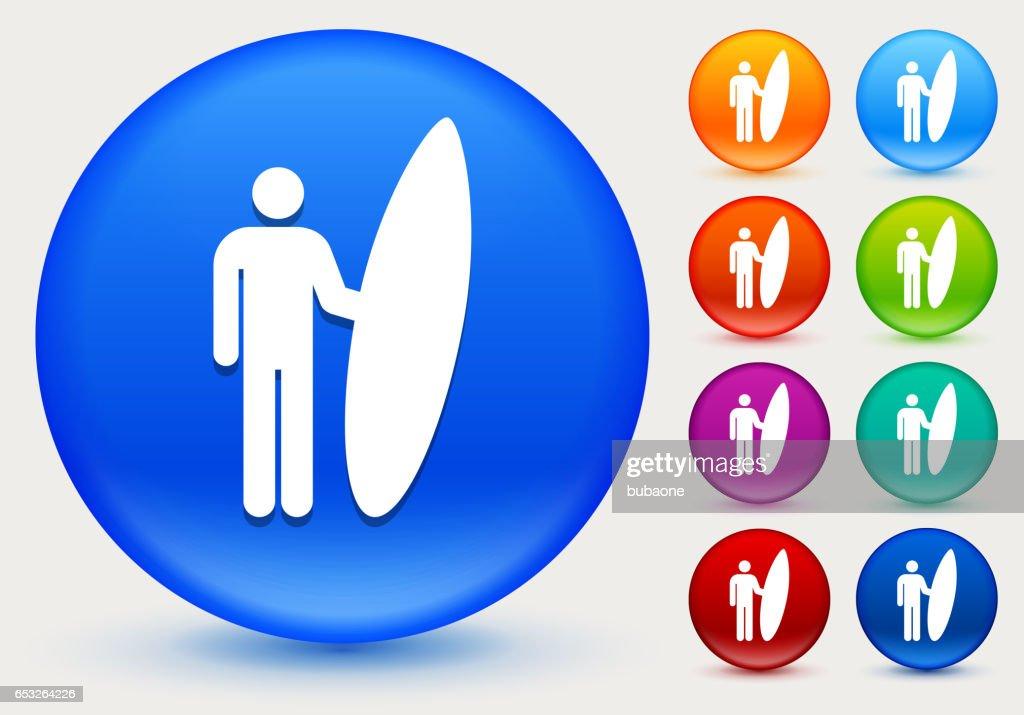 Icône de surf sur le cercle de couleur brillante boutons : Clipart vectoriel