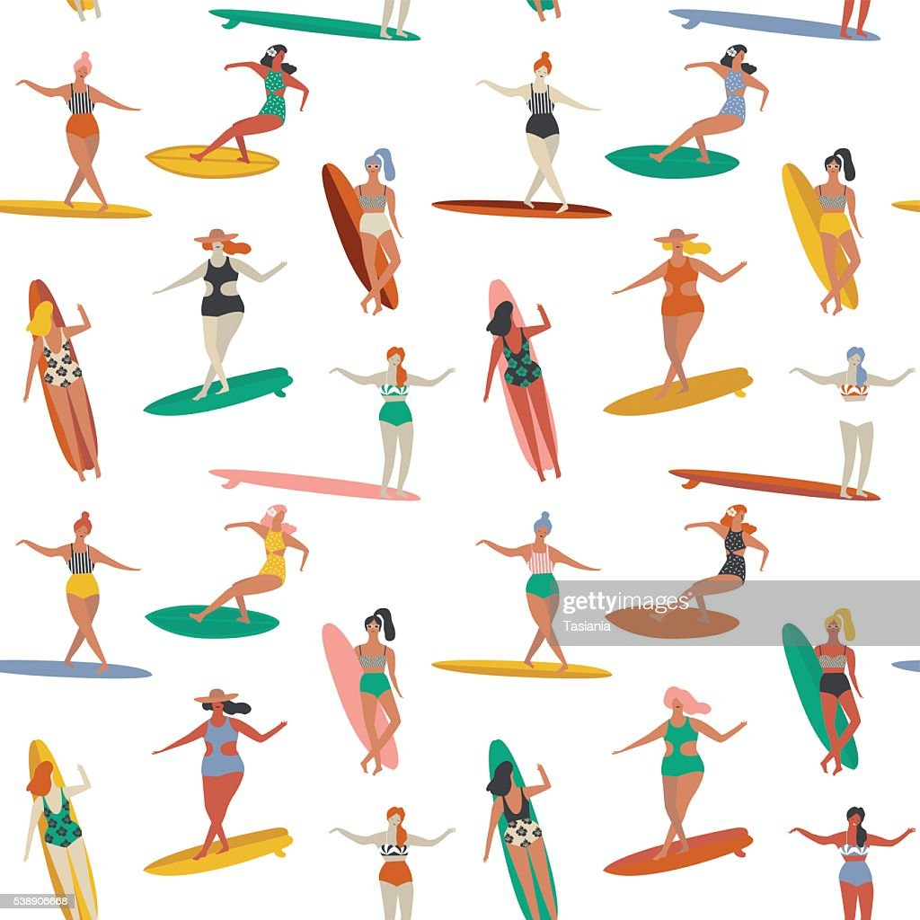 Surfing illustration in vector.