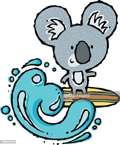 illustrations, cliparts, dessins animés et icônes de surfing koala - koala