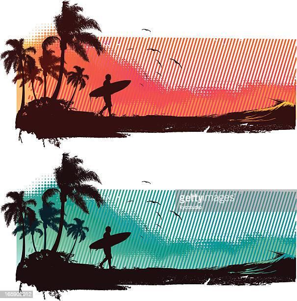 surfing landscape - surf stock illustrations, clip art, cartoons, & icons