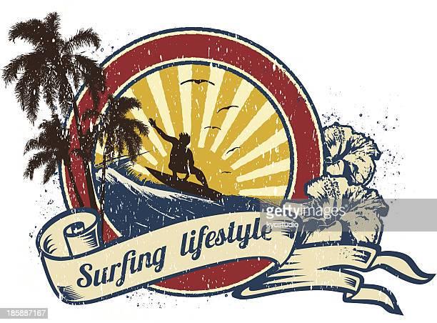 surfing lifestyle retro emblem - surf stock illustrations, clip art, cartoons, & icons