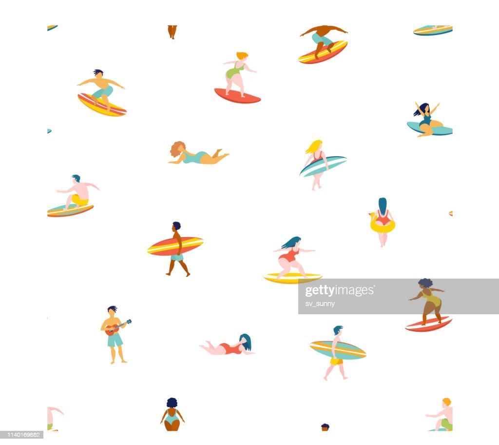 Surfing men women surf boards catching waves sea ocean.