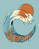 Surfing on a wave. Vector illustration with retro colors. For t-shirt prints, posters and other uses.