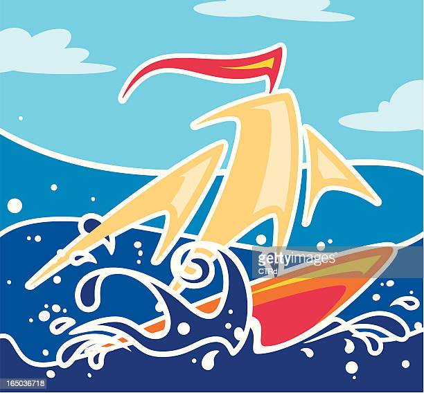 surfing or sailing - tide stock illustrations, clip art, cartoons, & icons