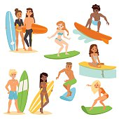 Surfing people vector set.