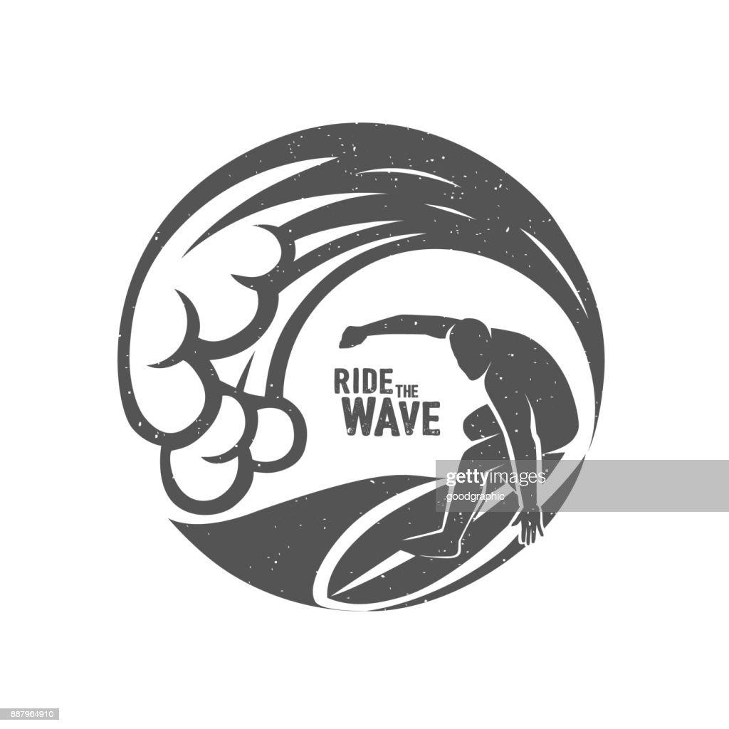 Surfing Symbols. Ride the wave. Surf rider.