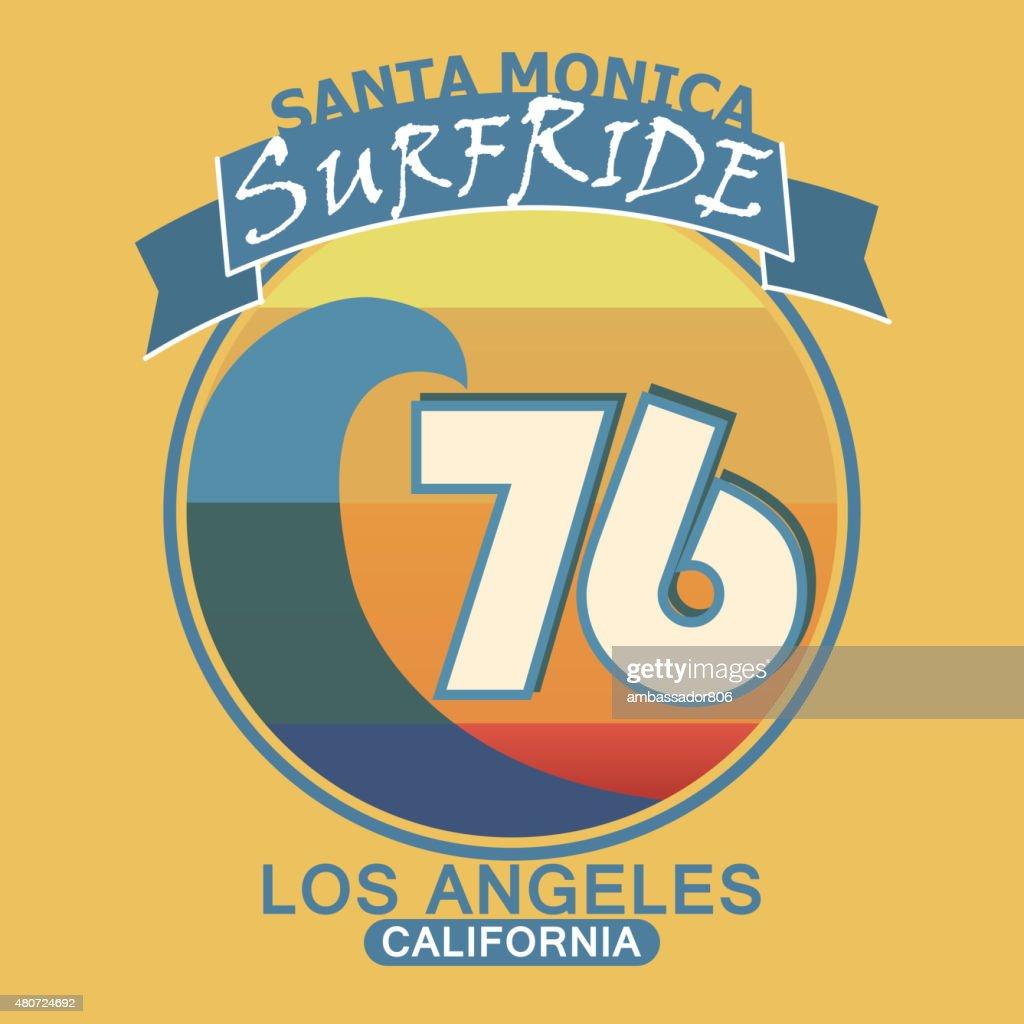 Surfing t-shirt graphic design. Santa Monica California surf typ