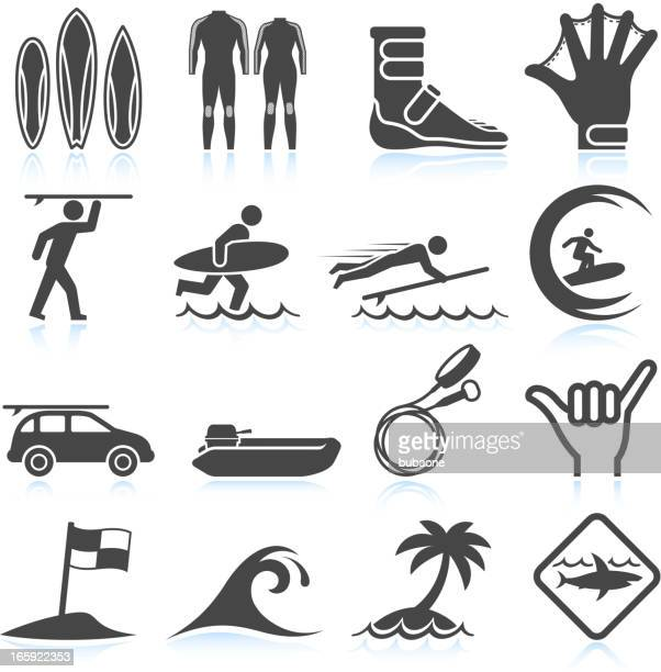 surfing vacation black & white royalty free vector icon set - surfing stock illustrations, clip art, cartoons, & icons