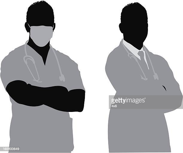surgeon and doctor - operating gown stock illustrations, clip art, cartoons, & icons