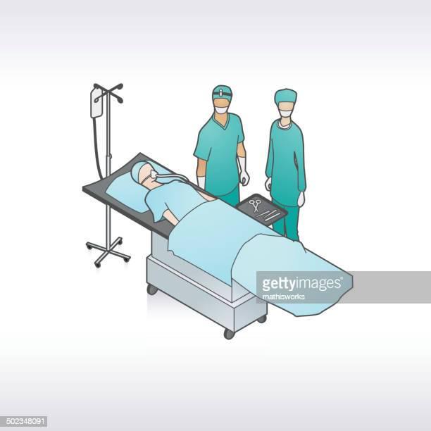 surgery patient illustration - surgeon stock illustrations, clip art, cartoons, & icons