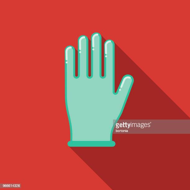 surgical glove flat design emergency services icon - glove stock illustrations