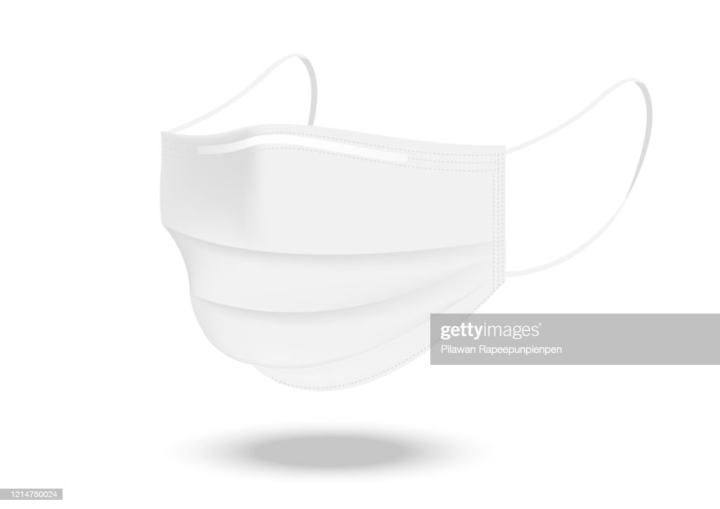 Surgical mask and Virus Protection isolated on white background. Safety Breathing,  Health Care and Medical Concept Design. : stock illustration