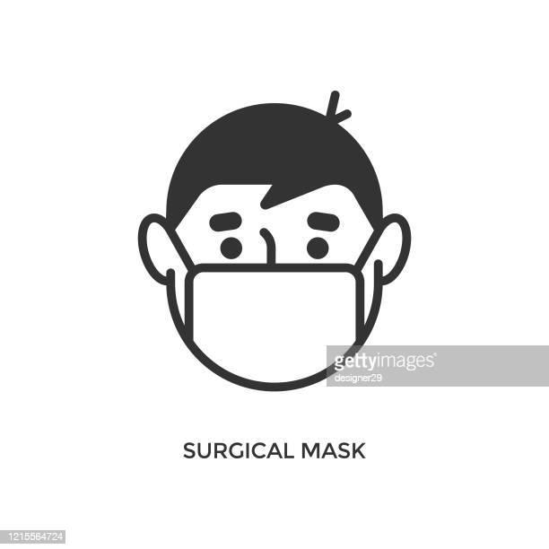 chirurgische maske symbol. mann mit medizinischer maske vektor-design. - mundschutz stock-grafiken, -clipart, -cartoons und -symbole