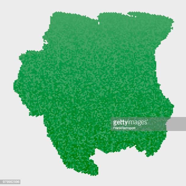 Suriname Land Map grünen Sechseck-Muster