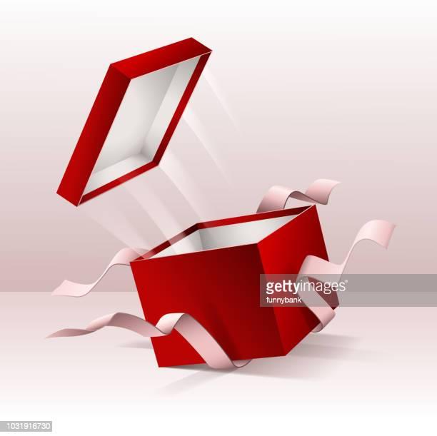 ilustraciones, imágenes clip art, dibujos animados e iconos de stock de caja de regalo sorpresa - cajaderegalo