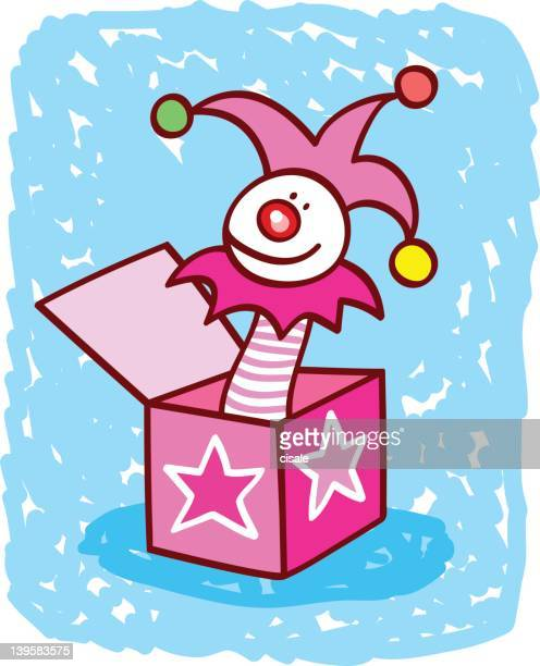 surprise toy box with puppet cartoon illustration