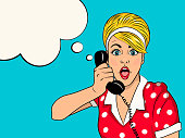 Surprised blonde woman on retro telephone.  Advertising poster of gossip girl with red lips and omg face. Vector illustration in pop art style