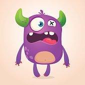 Surprised cute cartoon monster icon. Vector monster troll mascot