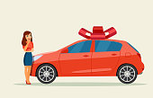 Surprised girl and new car.  Vector flat style illustration