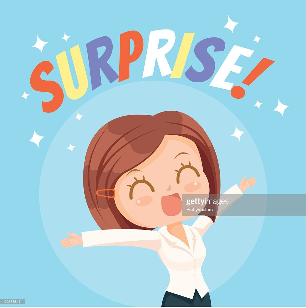 Surprised office woman character. Vector flat cartoon illustration