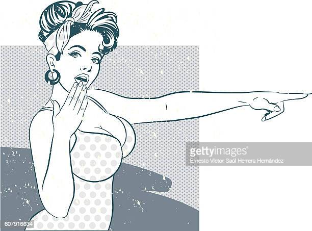 surprised pinup girl pointing - chest torso stock illustrations, clip art, cartoons, & icons