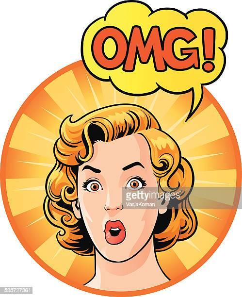 ilustraciones, imágenes clip art, dibujos animados e iconos de stock de retro mujer sorprendida diciendo omg - chicas de calendario