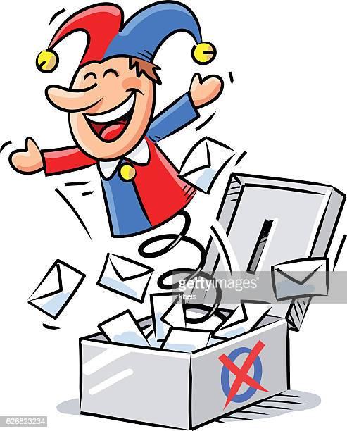 illustrations, cliparts, dessins animés et icônes de surprising election result - diable à ressort