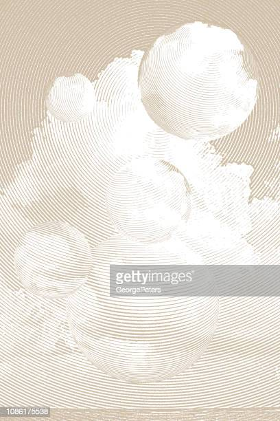surreal cloudscape over sea - beige stock illustrations