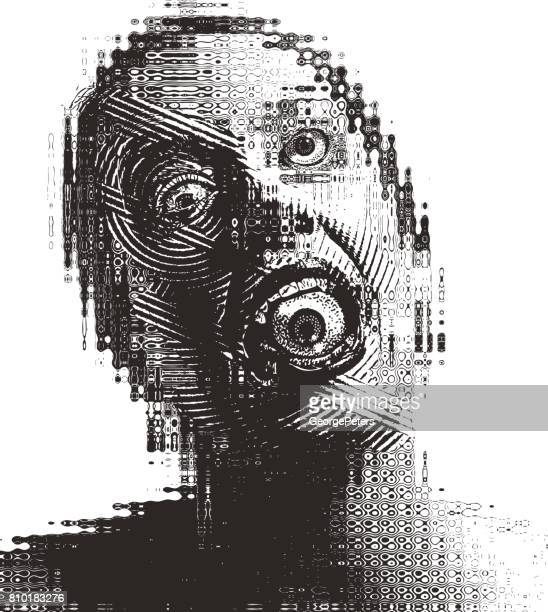 Surreal engraving illustration of a Scary adult woman with eyeball in mouth