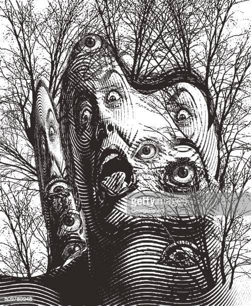 surreal engraving of haunted forest and eyeballs with scary woman screaming - surrealism stock illustrations