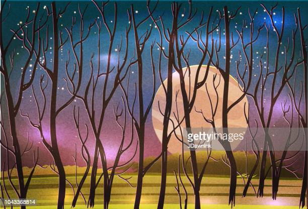 Surreal fall autumn landscape with trees, starry sky.