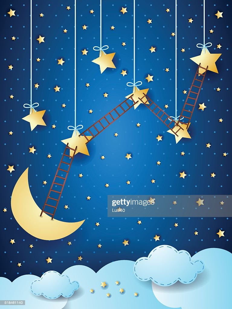 Surreal landscape with moon, stars and ladders
