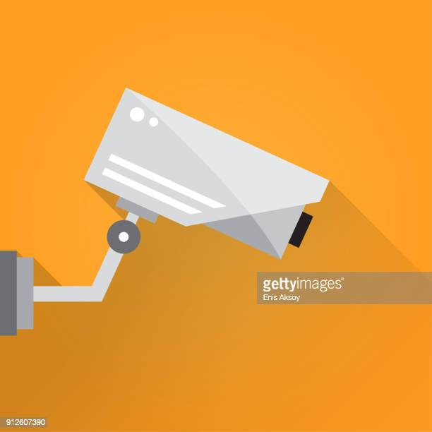 surveillance camera flat icon - security camera stock illustrations