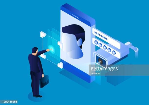 監視カメラは、スマートフォンの顔認識システム、近代的なネットワークセキュリティ技術を監視します - アイデンティティー点のイラスト素材/クリップアート素材/マンガ素材/アイコン素材