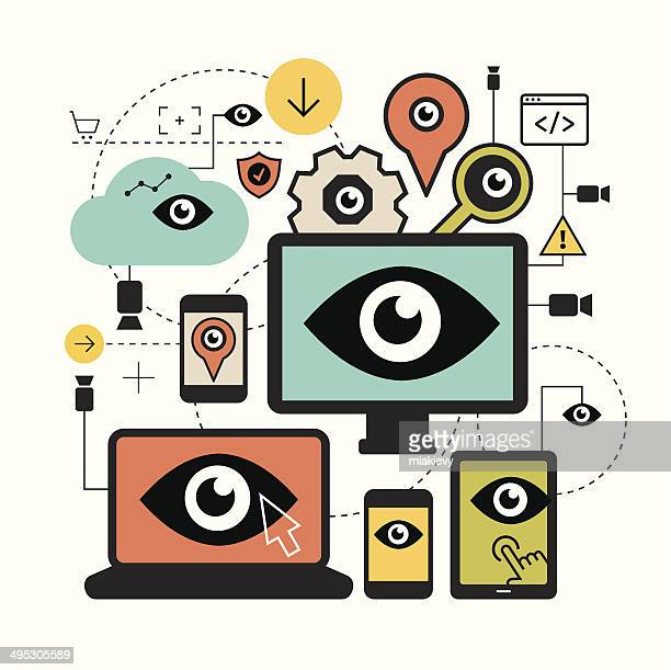 surveillance concept - big brother orwellian concept stock illustrations, clip art, cartoons, & icons