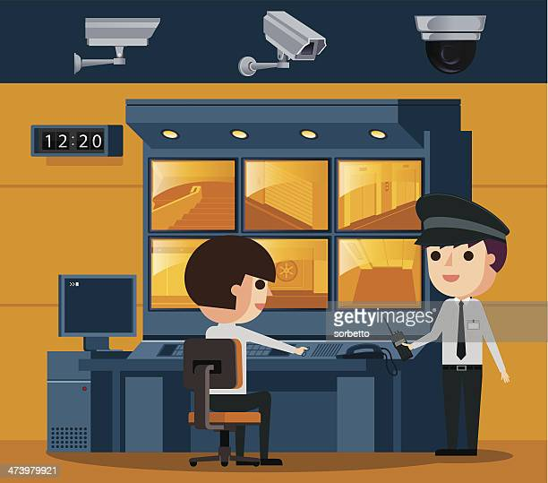 surveillance control room - security camera stock illustrations