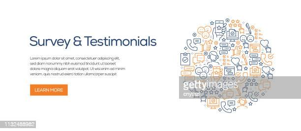 survey and testimonials banner template with line icons. modern vector illustration for advertisement, header, website. - questionnaire stock illustrations