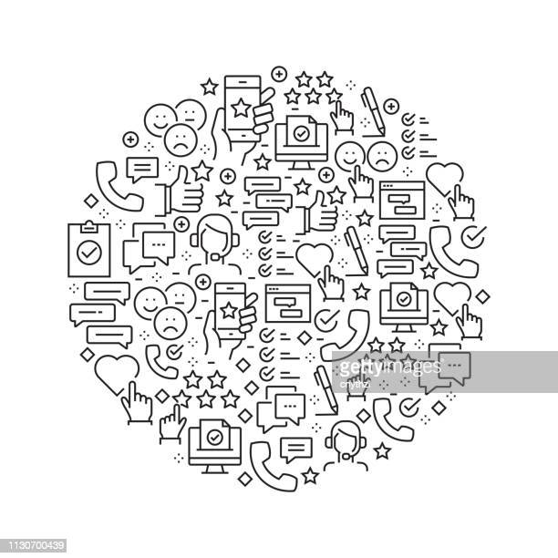 survey and testimonials concept - black and white line icons, arranged in circle - testimonial stock illustrations, clip art, cartoons, & icons