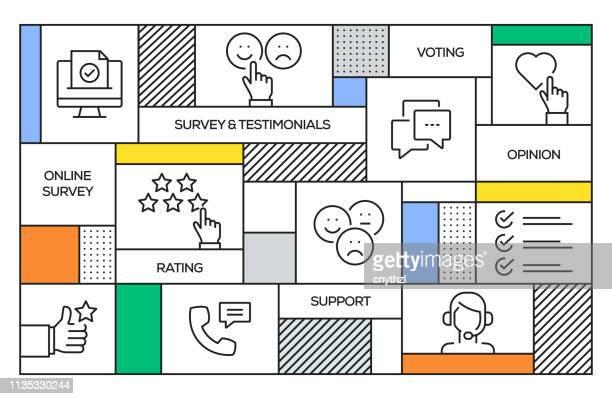 illustrazioni stock, clip art, cartoni animati e icone di tendenza di concetto di sondaggio e testimonianze. banner geometrico in stile retrò e concetto di poster con icone di linea di rilievo e testimonianze - questionario