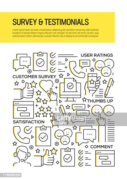 survey and testimonials concept line style cover design for annual report, flyer, brochure. - testimonial stock illustrations, clip art, cartoons, & icons