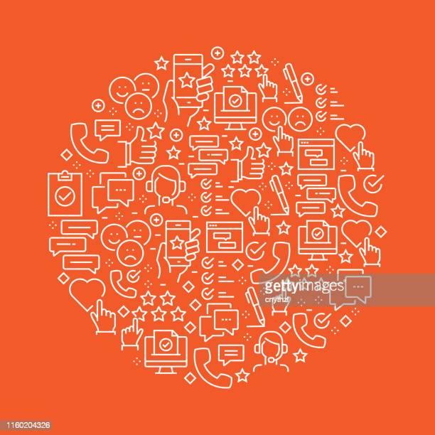 survey and testimonials related pattern design - customer focused stock illustrations