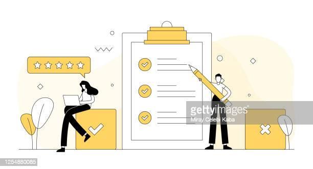 ilustrações, clipart, desenhos animados e ícones de pesquisa e depoimentos relacionados ilustração vetorial. design moderno plano - examinar