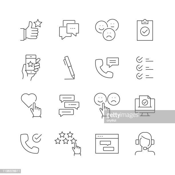 survey and testimonials - set of thin line vector icons - customer focused stock illustrations
