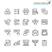 Survey line icons. Editable stroke. Pixel perfect.